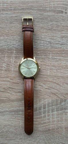 Michael Kors Reloj con pulsera de cuero color oro-marrón