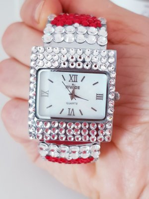 Analog Watch white-red