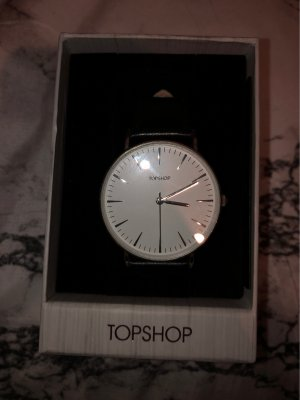 Topshop Watch With Leather Strap black-white
