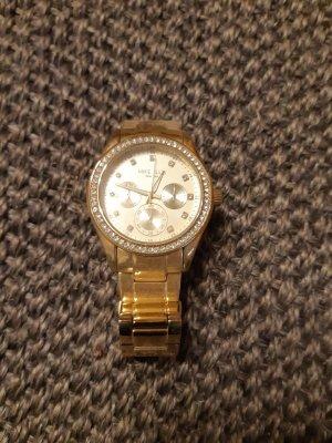 Zegarek z metalowym paskiem złoto