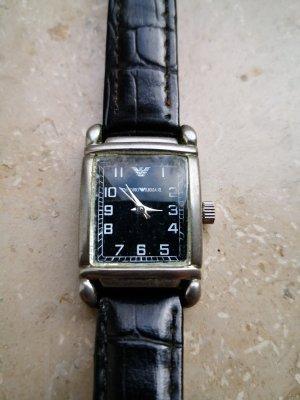 Emporio Armani Zegarek ze skórzanym paskiem czarny-srebrny