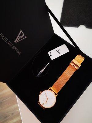 Paul Valentine Reloj con pulsera metálica color rosa dorado-beige claro