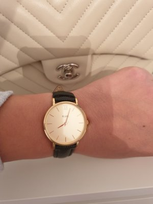 Cluse Watch With Leather Strap black-gold-colored