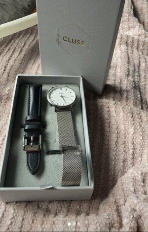 Cluse Reloj con pulsera metálica color plata-negro