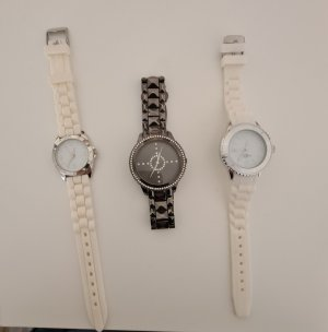 Watch With Leather Strap white-grey brown