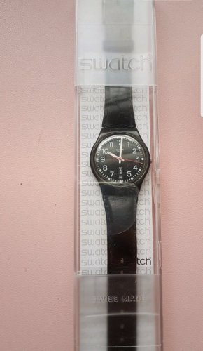 Swatch Watch With Leather Strap black