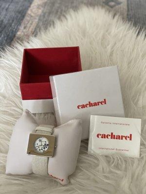Cacharel Montre avec bracelet en cuir blanc