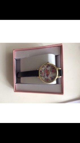 Uhr echtes Leder schwarz Blumen Gold weiß Neu mit Verpackung Elizabeth Rose