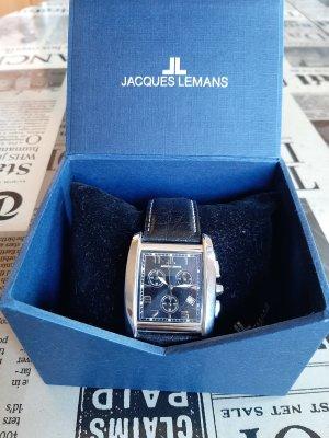 Jacques Lemans Horloge met lederen riempje zwart-zilver