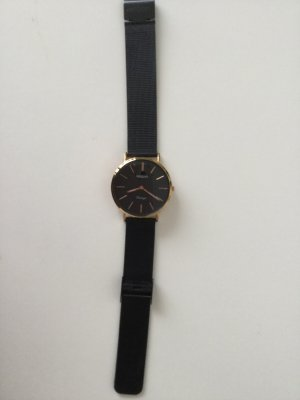 Oozoo Watch With Metal Strap black-rose-gold-coloured
