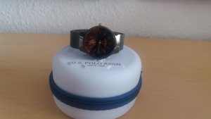 US Polo Watch With Metal Strap black brown metal