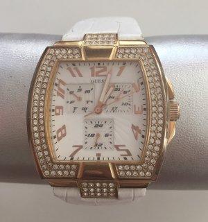 Uhr Guess weiß Gold Glitzersteine