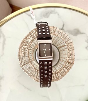 s.Oliver Montre avec bracelet en cuir brun foncé-argenté