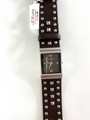 s.Oliver Watch With Leather Strap dark brown-silver-colored