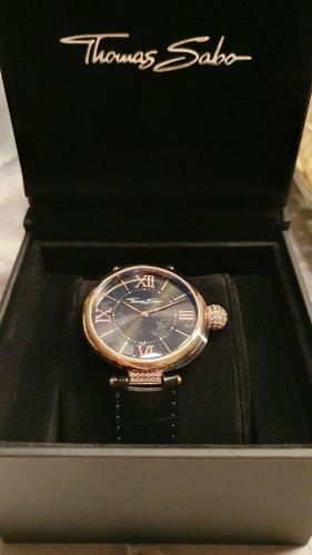 Thomas Sabo Reloj con pulsera de cuero negro-color rosa dorado
