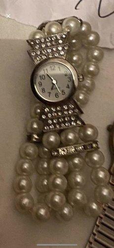 Analoog horloge zilver-wit