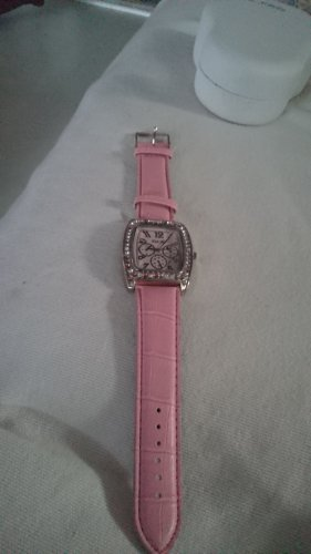 uhr lederarmban rosa ohnebatteri