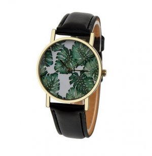 Reloj analógico negro-verde bosque