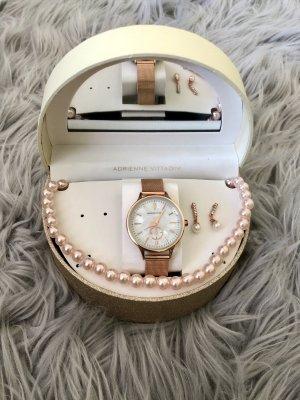 Uhr mit Mesharmband Roségold Perlmutt Zuffernblatt