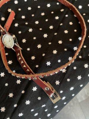 Unbekannte Marke Bracelet en cuir rouge foncé tissu mixte