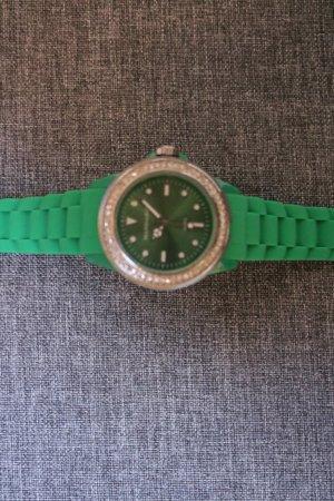 #Uhr mit Silikonband, #grün, #Strasssteine, #grün