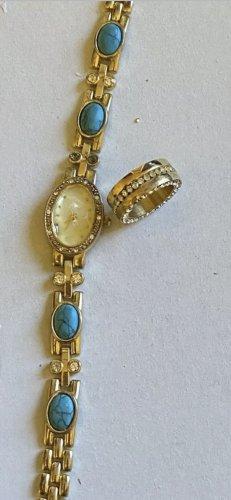 Uhr mit Steine Ring gr 17/56
