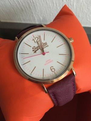 Uhr neu superdry Gold lila Schmuck Armband Armbanduhr Accessoires Blogger