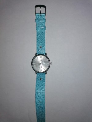 keine Watch With Leather Strap silver-colored-light blue