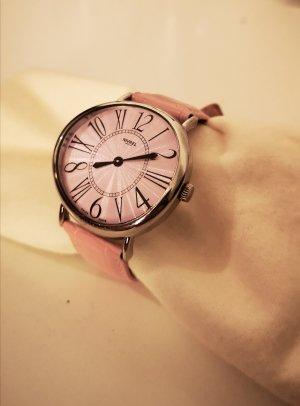 Siehe Label Montre avec bracelet en cuir argenté-rose clair