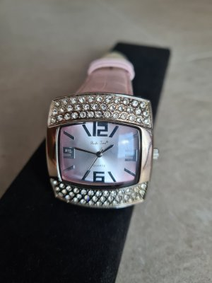 Pacific Time Watch With Leather Strap pink