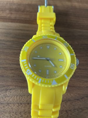 Uhr Quarz - gelbes Gummiband