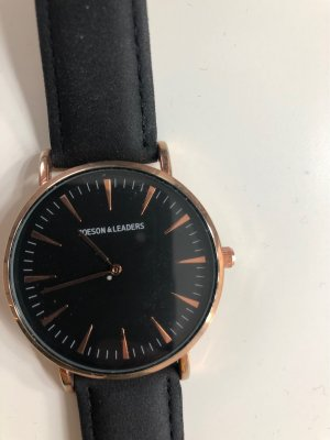 Watch With Leather Strap black-rose-gold-coloured