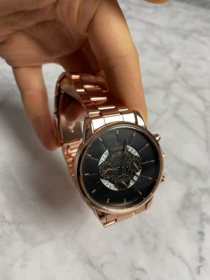 Watch With Metal Strap rose-gold-coloured-dark blue