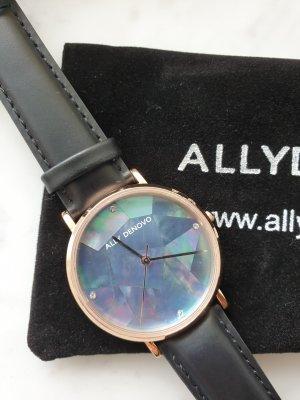Ally Denovo Montre avec bracelet en cuir noir-bronze