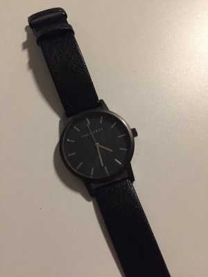 Watch With Leather Strap black-silver-colored