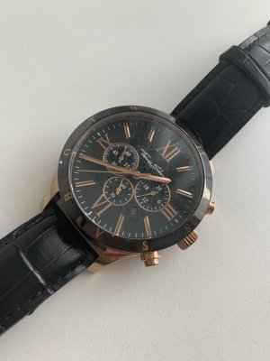 Thomas Sabo Watch With Leather Strap black-rose-gold-coloured