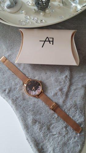 Anna Field Reloj con pulsera metálica color rosa dorado