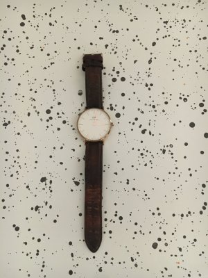Daniel Wellington Watch With Leather Strap dark brown-gold-colored
