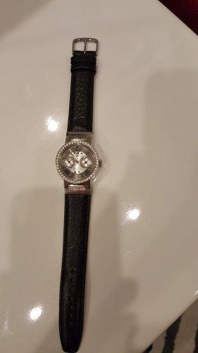 Dyrberg/Kern Horloge met lederen riempje zwart-zilver
