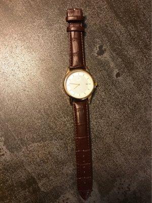 keine Zegarek ze skórzanym paskiem złoto-ciemnobrązowy