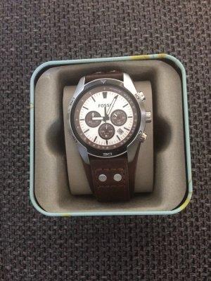 Fossil Reloj con pulsera de cuero color plata-marrón oscuro