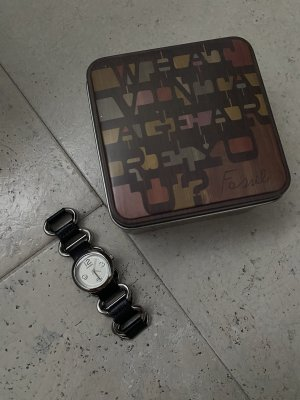 Fossil Horloge met lederen riempje zilver-zwart