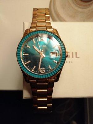 Fossil Reloj con pulsera metálica color oro-azul cadete