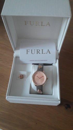 Furla Montre avec bracelet en cuir or rose