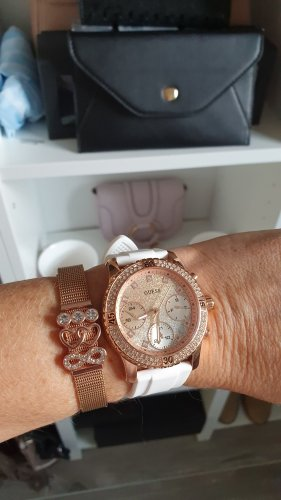 Guess Montre analogue blanc-or rose