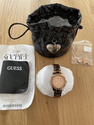 Guess Zegarek z metalowym paskiem w kolorze różowego złota