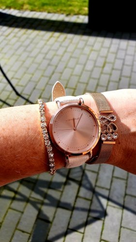 KAREN MILLEN Watch With Leather Strap white-rose-gold-coloured