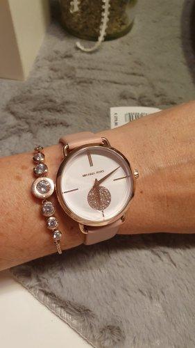 Michael Kors Reloj con pulsera de cuero color rosa dorado-rosa