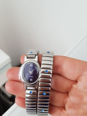 Watch With Metal Strap silver-colored-blue