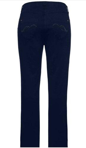 Ulla Popken Drainpipe Trousers blue-dark blue cotton